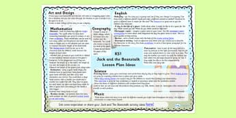 Jack and the Beanstalk Lesson Plan Ideas KS1 - lesson ideas, KS1
