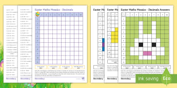 Easter Maths Mosaic Activity Sheets - Decimals, Fractions, addition, subtraction, multiplication, division, Times Tables, Revision, Easter