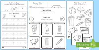 Letter P Activity Pack - Alphabet Packets, Letter P, Letter Formation, Letter Identification, Handwriting, Tracing, Beginning