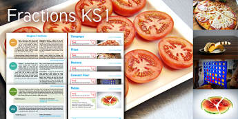 Imagine Fractions KS1 Resource Pack - tomatoes, pizza, banana, connect four, melon, maths, games, english, write a recipe, fair trade leaf