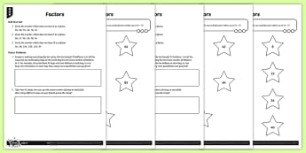 Factor Pairs Activity Sheets