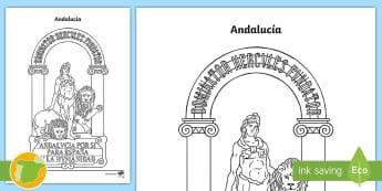 Hoja de colorear: El escudo de Andalucía - Mapas, provinicias, mapas mudos, mapas en blanco, las ciudades de españa, comarcas, concejos, comun