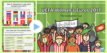 KS1 UEFA Women's Euro Information PowerPoint - football, national teams, competition, europe, active lifestyle