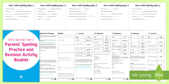 SATs Survival: Year 6 Parents' Spelling Practice and Revision  Activity Booklet - SATs Survival Materials Year 6, SATs, assessment, 2017, English, SPaG, GPS, grammar, punctuation, sp