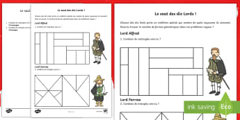 Feuille d'activités : Le saut des lords - formes, rectangles, triangles, compter, cycle 1,French