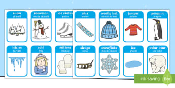 Winter Words and Pictures Flashcards English/Romanian - Winter Words and Pictures Flashcards - winter, visual aids, cards, EAL