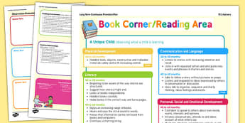 Book Corner or Reading Area Continuous Provision Plan Posters Nursery FS1 - reading