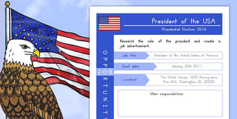 Job Advert: President of the USA Worksheet / Activity Sheet, worksheet