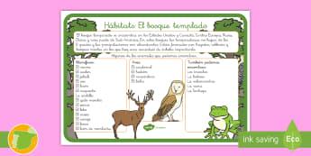Hoja informativa: Hábitats - El bosque templado - animales, clasificación, hábitats, donde viven, grupos