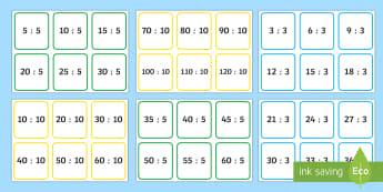 Karty Mnożenie i dzielenie przez 2 3 5 10 - iloraz, iloczyn, mnożenie, dzielenie, razy, przez, matematyka, oblicz,Polish