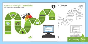 New Technologies Comparative and Superlative Board Game - KS4, Spanish, New Technologies, everyday, life, ordenador, movil, teléfono, tableta, portatil, vide