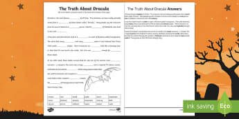 The Truth About Dracula Fill in the Blanks Activity Sheet