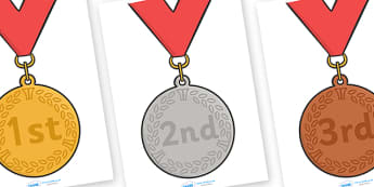 Ordinal Number Posters (Medals) - Display posters, counting, 1st, 2nd, 3rd, first, second, third, foundation stage numeracy, ordinal, numeracy
