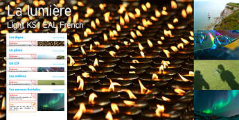 Imagine Light KS1 Resource Pack French - Diwali, Diva Lamps, Lighthouse, Light, Compact Disc, Shadows, Northern Lights