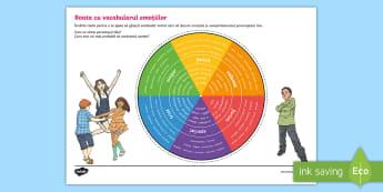 Emoții: Ruleta cu vocabular - dezvoltare socială, dezvoltare personală,inteligență emoțională, jocuri cu emoții, activită