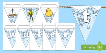Water Area Display Bunting - water area, bunting, themed bunting, display bunting, display, bunting flags, flag bunting, cut out bunting, paper bunting