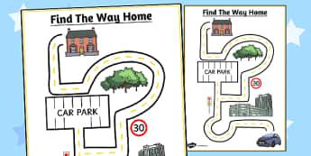 Find the Way Home Maze Sheet - maze, sheet, find, way, home, worksheet