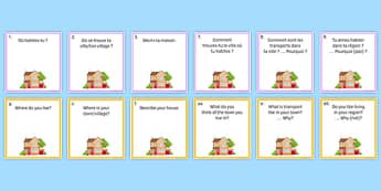 Home, Town, Neighbourhood and Region Question Pair Cards French - Conversation, Speaking, House, Maison, Ville, Village