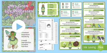 Mrs Gren Life Processes Resource Pack - seven life processes, mrs gren. MRS GREN, movement, respiration, sensitivity, growth, reproduction,