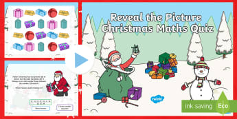 KS1 Maths Reveal the Picture Christmas Quiz PowerPoint - maths mastery, recap, addition, subtraction, problem solving, partner talk, oral, reasoning, peer re