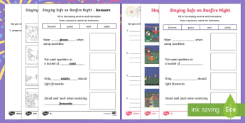 Sparks in the Sky Staying Safe on Bonfire Night Differentiated Activity Sheet - fireworks, firework safety, bonfire safety, bonfires, KS1, EYFS, Firework Night, Instructions, PSHCE