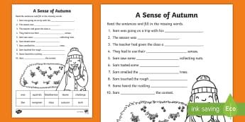 A Sense of Autumn Fill in the Blanks Activity Sheet - A, Sense, of, Autumn, seasons, Aistear, school trip, forest, blackberries, worksheet, squirrels, lea