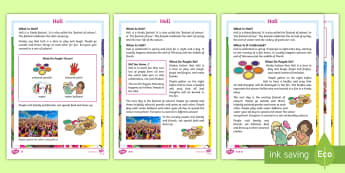 KS1 Holi Differentiated Fact File - festivals, events, hinduism, comprehension, paint