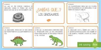 Tarjetas informativas: ¿Sabías que...? Los dinosaurios - Dinosaurios, pre-historia, dinos, proyectos, aprendizaje basado en proyectos, proyectos infantiles,