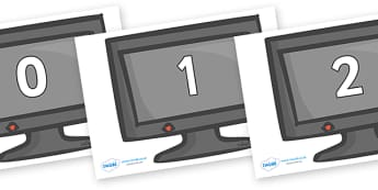 Numbers 0-50 on Computer Monitors - 0-50, foundation stage numeracy, Number recognition, Number flashcards, counting, number frieze, Display numbers, number posters