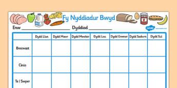 Fy Nyddiadur Bwyd Welsh - welsh, wales, healthy eating, food, journal