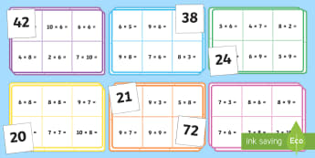 Loto : Les tables de 6, 7, 8 et 9 - Les multiplications - Multiplications, mathématiques, maths, calculs, nombre, numbers, tables, times tables, cycle 2, cyc