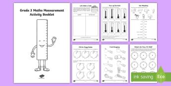 Grade 3 Maths Measurement Activity Booklet - measurement, volume, Capacity, length, mass, kg, estimation, cm, ml, time, money, coins, cents, Curr