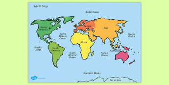 Name and locate the worlds seven continents and world map with names gumiabroncs Choice Image
