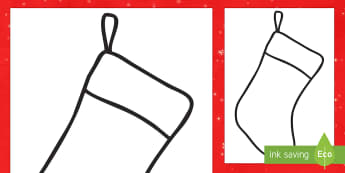 Christmas Stocking Outline Display Cut-Outs - cutting, festive, decorations, gifts, father Christmas,