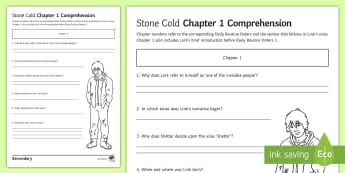 'Stone Cold' Chapter 1 Comprehension Activity Sheet - Swindells, Comprehension, Shelter, Link, Assess