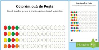 Ouă colorate Fișă Completează șirul logic - Romania Easter, Paște, Paști, ouă, șir, matematică, șir logic, atenție, exercițiu, antrenare