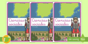 Separadores de álbumes: Ciencias sociales - álbum, fin de curso, dividir, tapa de álbumes, tapas, asignaturas, trimestre,Spanish