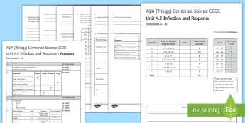 AQA Combined Science (Trilogy) Unit 4.3 Infection and Response Test - KS4 Assessment, Test. infection, vaccinations, white blood cells, antibodies, anti toxins, placebo