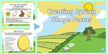KS1 Spring Shape Poetry PowerPoint - shape poetry, poetry, poetry presentation, poetry powerpoint, KS1 poetry, Year 2 poetry, KS1 shape p