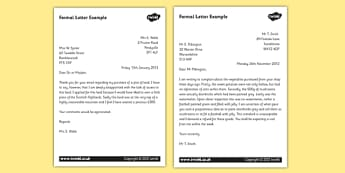 Formal Letter Examples - KS2 Formal Writing Example Texts