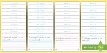 Nude Food Day Handwriting Year 1 Activity Sheet - Healthy eating, fine motor, writing, literacy, Personal health, worksheet