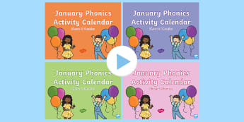 January Phonics Activity Calendar PowerPoint Pack - Reading, Spelling, Game, Starter, Sounds