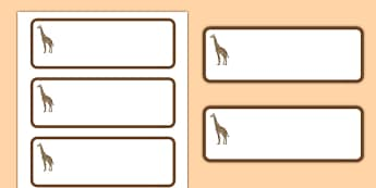 Giraffe Themed Editable Drawer-Peg-Name Labels (Blank) - Themed Classroom Label Templates, Resource Labels, Name Labels, Editable Labels, Drawer Labels, Coat Peg Labels, Peg Label, KS1 Labels, Foundation Labels, Foundation Stage Labels, Teaching Labe