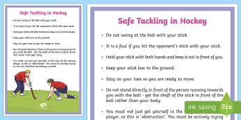 Safe Tackling in Hockey Guide - KS2, tackle, block , PE, Physical Education, Y3, Y4, Y5, Y6