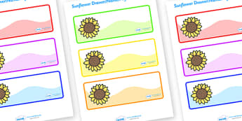 Editable Drawer - Peg - Name Labels (Sunflowers) - Classroom Label, template, sticker, templates, Resource Labels, Name Labels, Editable Labels, Drawer Labels, Coat Peg Labels, Peg Label, KS1 Labels, Foundation Labels, Foundation Stage Labels, Teachi
