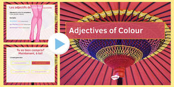 Adjectives of Colour PowerPoint French - grammar, descriptions, describe, qualify, position, agreement, place, presentation