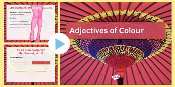 Les adjectifs de couleur présentation French Adjectives of Colour Presentation - french, adjectives, colour, presentation