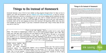 Things to Do Instead of Homework Parent and Carer Information Sheet - parents, advice, schools, homework