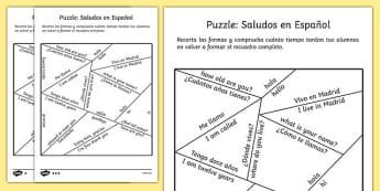 Puzzle: Saludos en Español - spanish, spain, languages, EAL, spanish words