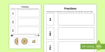 Fractions Worksheet / Activity Sheet - NI KS1 Numeracy, cut, stick, fractions, match, worksheet